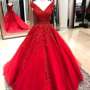 Red Long Prom Dresses 2019 A-line Ball Gown V-Neck Sleeveless Lace