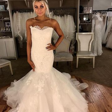 Long Wedding Dresses 2019 Mermaid Strapless Sleeveless Lace