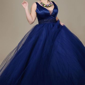 Blue Long Prom Dresses 2019 A-line V-Neck Sleeveless Plus Size