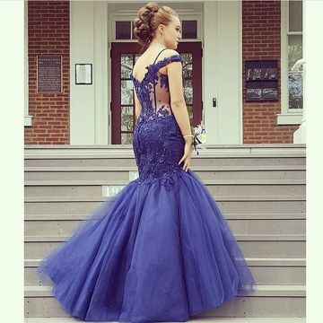 Dark Navy Long Prom Dresses 2019 Mermaid