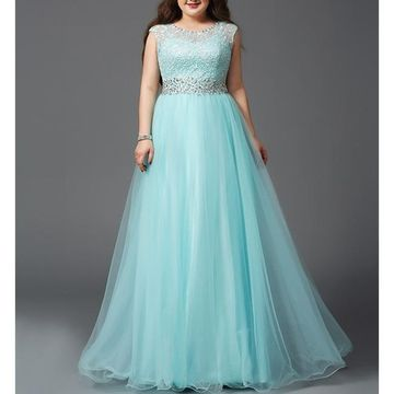 Blue Long Prom Dresses 2019 A-line Sleeveless Lace Plus Size