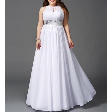 White Long Prom Dresses 2019 A-line Sleeveless Plus Size