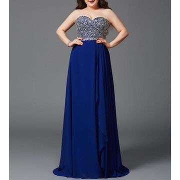 Blue Long Prom Dresses 2019 A-line Chiffon Plus Size