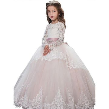 06cec313e4a0 49%OFF Pink Long Dresses 2019 Ball Gown Long Sleeves Lace Flower ...