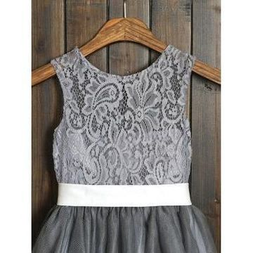 c2d43c5c69 49%OFF Grey Long Dresses 2019 A-line Sleeveless Lace Cute Flower ...