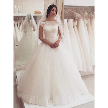 Long Wedding Dresses 2019 Ball Gown Sleeveless Lace