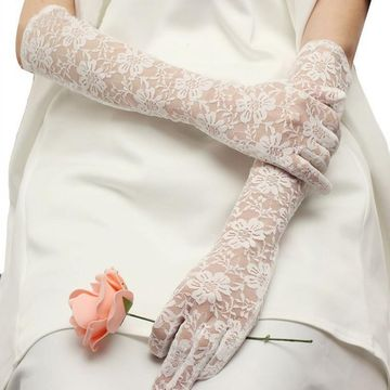 Long Transparent Lace Wedding Bridal Gloves