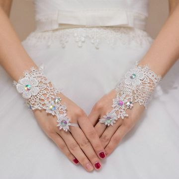 Bridal Lace Fingerless Gloves with Beading