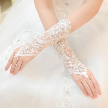 Beading Fingerless Wedding Gloves with Appliques