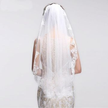 Lace Trim Edge White Wedding Veil