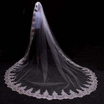 Fancy Tulle Lace Edge Cathedral Wedding Veil