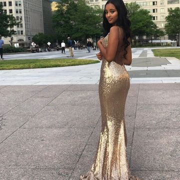 Gold Sequin Long Prom Dresses 2020 Mermaid V-Neck Open Back African Sexy