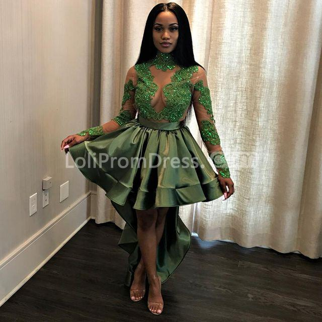 49 Off Green Long High Low Prom Dresses 2019 A Line Long