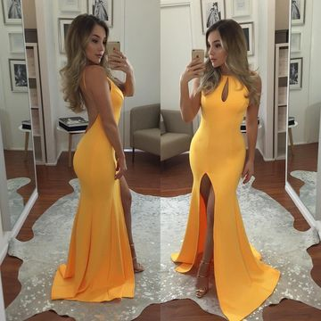 Yellow Long Prom Dresses 2019 Mermaid Sleeveless