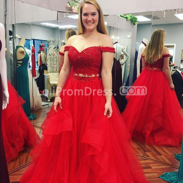 49%OFF Red Long Prom Dresses 2019 A-line Plus Size Two Piece ...