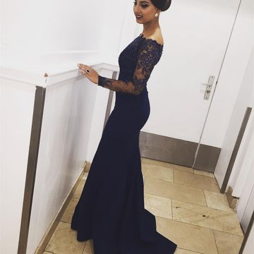 Dark Navy Long Prom Dresses 2019 Mermaid Long Sleeves