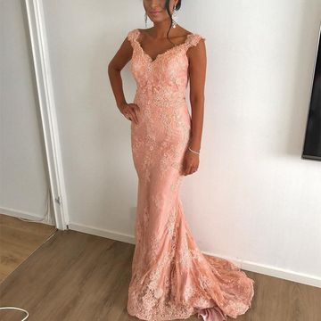 Pink Long Prom Dresses 2019 Mermaid V-Neck Sleeveless Lace