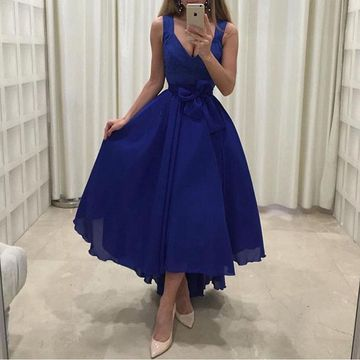 Blue Long High-Low Prom Dresses 2019 A-line V-Neck Sleeveless Chiffon