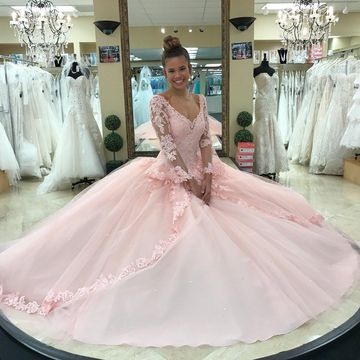 Pink Long Quinceañera Dresses 2020 Ball Gown V-Neck Long Sleeves