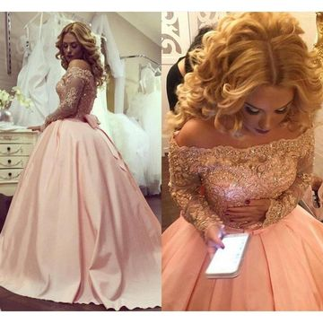 Pink Long Prom Dresses 2019 Ball Gown Long Sleeves