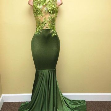 44ae8b295f 49%OFF Green Long Prom Dresses 2019 Sleeveless Mermaid ...