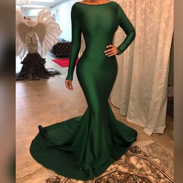 Green Long Prom Dresses 2019 Long Sleeves Open Back Sexy Mermaid