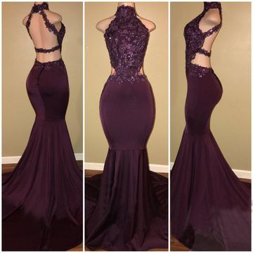 Long Prom Dresses 2019 Mermaid Sleeveless Open Back