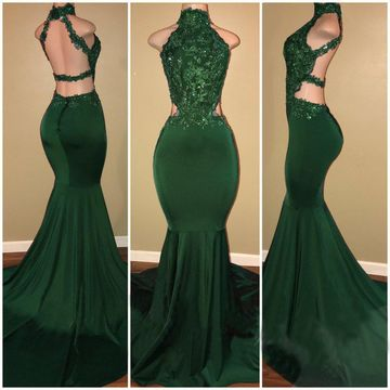 Green Long Prom Dresses 2019 Mermaid Sleeveless Open Back