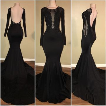 Black Long Prom Dresses 2019 Mermaid Long Sleeves Open Back