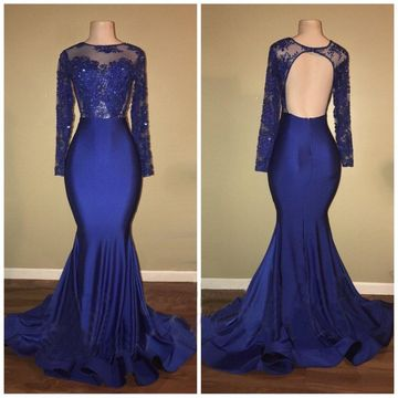 Blue Long Prom Dresses 2019 Mermaid Long Sleeves Open Back