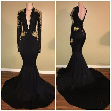Black Long Prom Dresses 2019 Mermaid V-Neck Long Sleeves Sexy