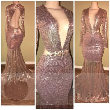 Gold Sequin Long Prom Dresses 2019 Mermaid V-Neck Long Sleeves Open Back Sexy