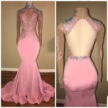 Pink Long Prom Dresses 2019 Mermaid Long Sleeves Open Back