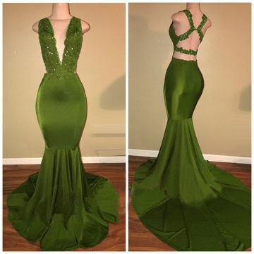 Green Long Prom Dresses 2019 Mermaid V-Neck Sleeveless Sexy