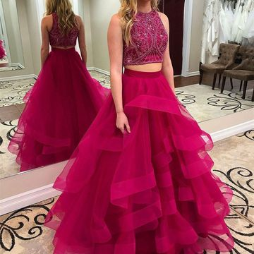 Long Prom Dresses 2019 A-line Sleeveless Two Piece