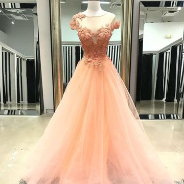 Orange Long Prom Dresses 2019 A-line