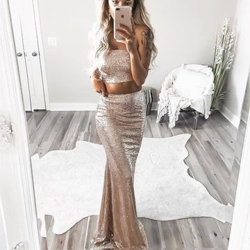 Gold Sequin Long Prom Dresses 2019 Sheath Strapless Sexy Two Piece