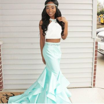 Long Prom Dresses 2019 Mermaid Sleeveless African For Short Girls Two Piece