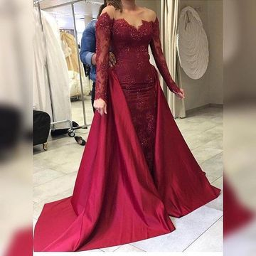 af4b41c92b12 49%OFF Burgundy Long Prom Dresses 2019 Long Sleeves Lace ...