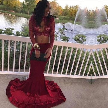 Red Long Prom Dresses 2019 Mermaid Long Sleeves Two Piece