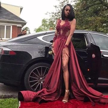 Burgundy Long Prom Dresses 2019 A-line Long Sleeves African Sexy