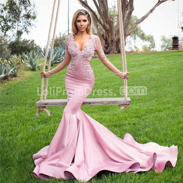 Evening Gown Wedding: 49%OFF Pink Long Prom Dresses 2019 Mermaid V-Neck Long