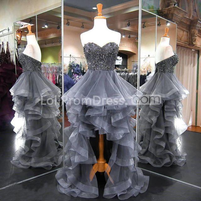 49%OFF Grey Long High-Low Prom Dresses 2019 Sleeveless For