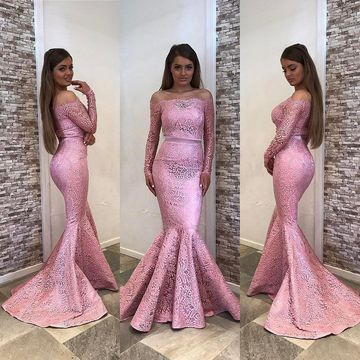 Pink Long Bridesmaid Dresses / Prom Dresses 2020 Mermaid Long Sleeves Lace