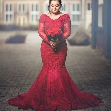 Red Long Prom Dresses 2020 Mermaid V-Neck Long Sleeves Lace