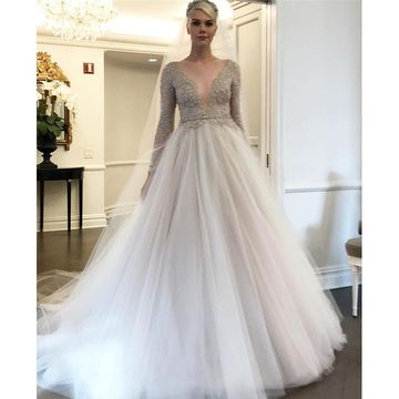 Wedding Dress Sleeves.49 Off Illusion Long Sleeves Beading Tulle 2019 A Line Wedding Dress