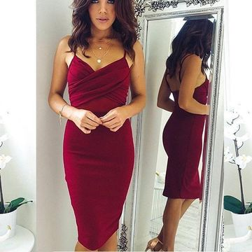 Burgundy Straps Sheath 2019 Homecoming Dress V-Neck