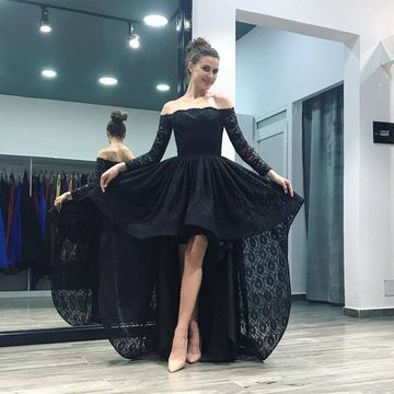 Black Off the Shoulder Long Sleeves A-line 2019 Lace Homecoming Dress