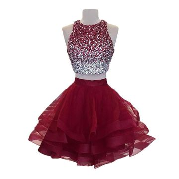 Red Round Neck Beading A-line 2019 Two Piece Homecoming Dress Sleeveless