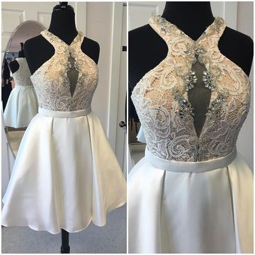 White Round Neck Sleeveless Lace A-line 2019 Homecoming Dress